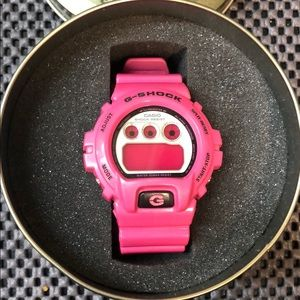 Hot Pink G Shock Watch in packaging